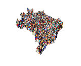 map of Brazil with people isolated