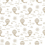 Balloon simple line gold and white seamless vector pattern.