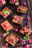 Brownie with raspberry