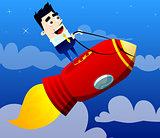 Businessman standing on a rocket ship flying through sky.