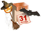 October 31 holiday of Halloween. Tear-off calendar. Halloween accessory pumpkin lantern, bat, broom, spider web, hat