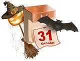 October 31 holiday of Halloween. Tear-off calendar. Halloween accessory pumpkin lantern, bat, broom, spider web, hat