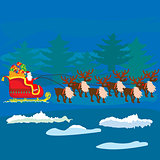 Christmas Santa Claus on sledge with reindeer and gifts
