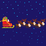 Christmas vector illustration with Santa Claus on sleigh