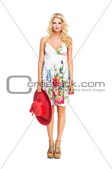 beautiful girl in summer dress