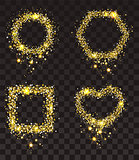 Gold stars on transparent background. Set of frame of gold stars: rectangle, heart shape, circle, hexagon