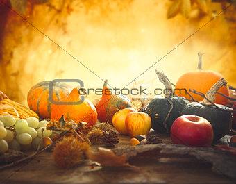 Autumn fruit on table