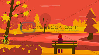 Autumn Scene Park hand drawn