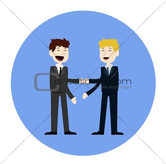 Business concept vector illustration in flat cartoon style. Business people shaking hands. Businessmen making a deal.