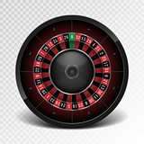 Realistic black casino roulette wheel isolated on transparent background. American gambling roulette wheel. Vector illustration.