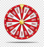 Red Fortune Wheel isolated on transparent background. Realistic Casino fortune Wheel mockup. Vector illustration.