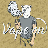 White bear vaping an electronic cigarette