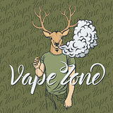 Deer vaping an electronic cigarette