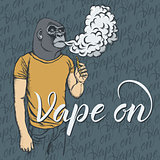 Gorilla vaping an electronic cigarette