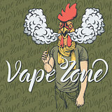 Rooster vaping an electronic cigarette