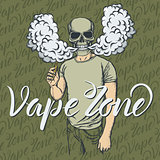 Skull vaping an electronic cigarette