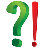 Green question mark and red exclamation mark