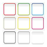 Empty square sticker button set