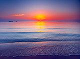Beautiful tropical sunset. Dramatic evening scene