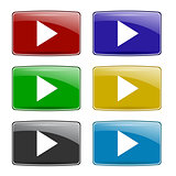 Set of Colorful Play Icons
