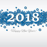 Happy New Year Merry Christmas 2018 snowflake holiday congratulation card.
