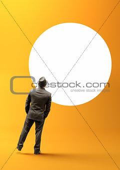 Businessman and Blank Circle