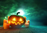 Glowing Pumpkin On Halloween