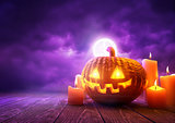 Orange Halloween Pumpkin and Purple Background