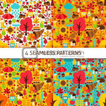 Autumn Season Seamless Patterns