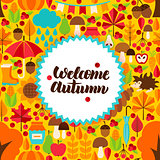 Flat Autumn Postcard