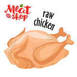Meat vector - raw chicken. Fresh meat icon.