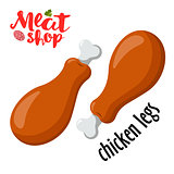 Meat vector - chicken legs. Fresh meat icon