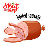 Meat vector - boiled sausage. Fresh meat icon