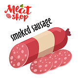 Meat vector - smoked sausage. Fresh meat icon