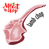 Meat vector - lamb chop. Fresh meat icon.
