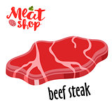 Meat vector - beef steak. Fresh meat icon.