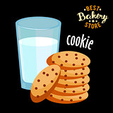 Chocolate chip cookies and glass of hot milk vector. Baked bread product.