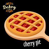 Cherry pie mesh on the board vector. Baked bread product.