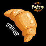 Croissant for breakfast vector. Baked bread product.