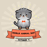 World animal day. Vector card with cute cat and ribbon.