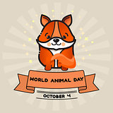 World animal day. Vector card with cute fox and ribbon.