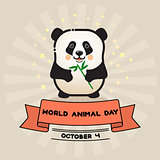 World animal day. Vector card with cute panda and ribbon.