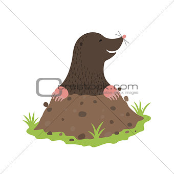 Mole Digging Out of the dirt animal cartoon character