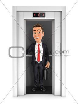 3d businessman taking the elevator
