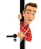 3d handyman peeking behind a door