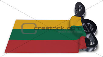 clef symbol and flag of lithuania - 3d rendering