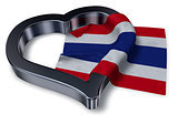 flag of thailand and heart symbol - 3d rendering