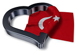 flag of turkey and heart symbol - 3d rendering