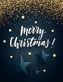 Christmas dark background with shiny golden glitter, three-dimensional stars and lettering. Minimalistic vector design.