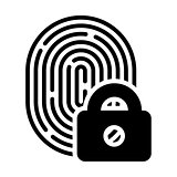 Fingerprint with lock linear icon